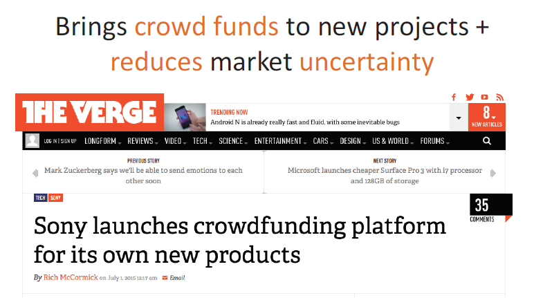 Brings crowd funds to new projects + reduces market uncertainty